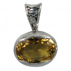Oval Citrine Pendant, Sterling Silver