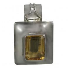 Rectangular Citrine Pendant, Sterling Silver