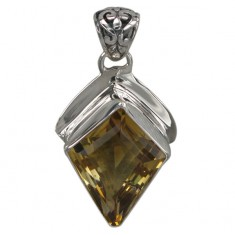 Free Shape Citrine Pendant, Sterling Silver