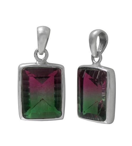 Rectangular Bio Crystal Pendant, Sterling Silver