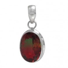Oval Bio Crystal Pendant, Sterling Silver