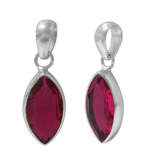 Marquise Rubellite Crystal Pendant, Sterling Silver