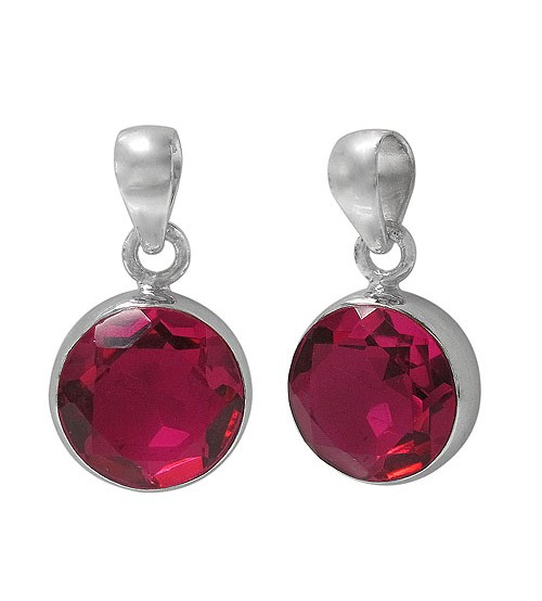 Round Rubellite Crystal Pendant, Sterling Silver