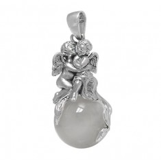 Ball & Angel Crystal Pendant, Sterling Silver