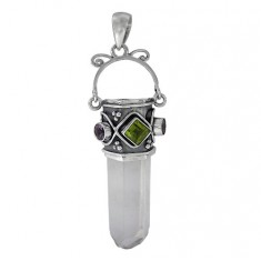 Icicle Crystal & Peridot Pendant, Sterling Silver