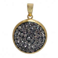 Gold Plated Round Crystal Pendant, Sterling Silver