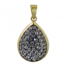 Gold Plated Teardrop Crystal Pendant, Sterling Silver