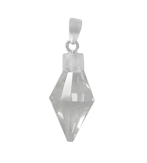 Diamond Shaped Crystal Pendant, Sterling Silver