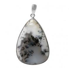 Teardrop Dendrite Pendant, Sterling Silver