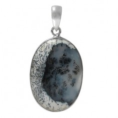 Oval Dendrite Pendant, Sterling Silver