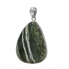 Free Form Zebra Stone Pendant, Sterling Silver