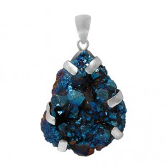 Free Form Blue Druzy Stone Pendant, Sterling Silver