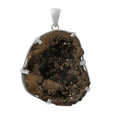 Free Form Gold Druzy Stone Pendant, Sterling Silver
