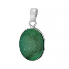 Oval Green Druzy Stone Pendant, Sterling Silver