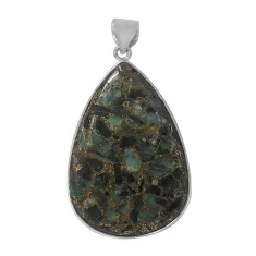 Teardrop Copper & Emerald Pendant, Sterling Silver