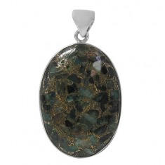 Oval Copper & Emerald Pendant, Sterling Silver
