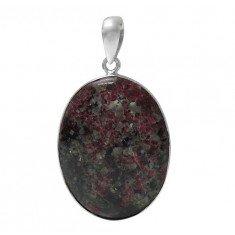 Oval Eudialyte Pendant, Sterling Silver