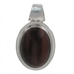 Oval Red Tiger Eye Pendant, Sterling Silver
