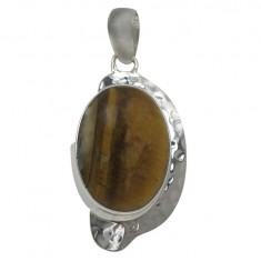 Oval Tiger Eye Pendant, Sterling Silver