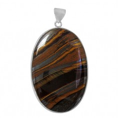 Oval Iron Tiger Eye Pendant, Sterling Silver
