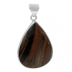 Teardrop Iron Tiger Eye Pendant, Sterling Silver