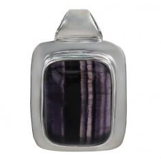 Rectangular Fluorite Pendant, Sterling Silver