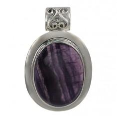 Oval Fluorite Pendant, Sterling Silver