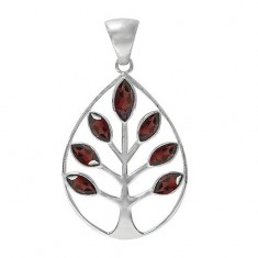 Tree of Life Garnet Pendant, Sterling Silver