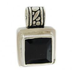 Square Garnet Pendant, Sterling Silver