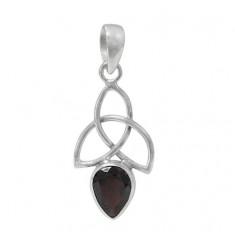 Teardrop Garnet Pendant, Sterling Silver