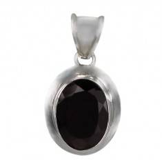 Oval Garnet Pendant, Sterling Silver