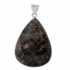 Teardrop Copper & Garnet Pendant, Sterling Silver