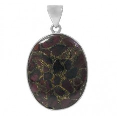 Oval Copper & Garnet Pendant, Sterling Silver