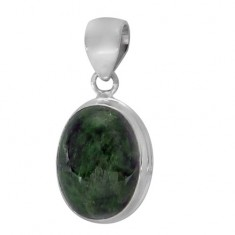 Oval Green Stone Pendant, Sterling Silver