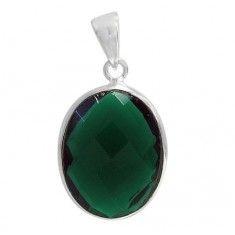 Oval Green Hydro Pendant, Sterling Silver