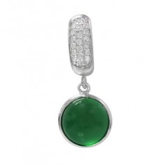 Round Green Jade Pendant, Sterling Silver