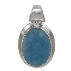 Oval Blue Jade Pendant, Sterling Silver
