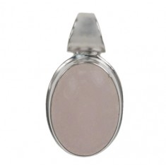 Oval Rose Jade Pendant, Sterling Silver