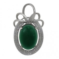 Oval Green Jade Pendant, Sterling Silver