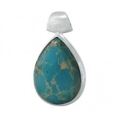 Teardrop Blue Imperial Jasper Pendant, Sterling Silver