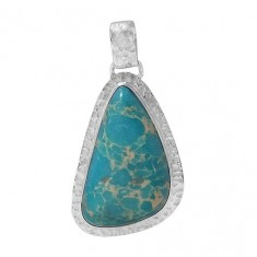 Free Form Blue Imperial Jasper Pendant, Sterling Silver