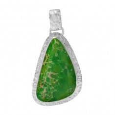 Free Form Green Imperial Jasper Pendant, Sterling Silver