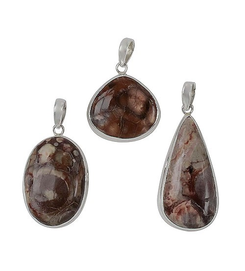 Assorted Jasper Pendant, Sterling Silver
