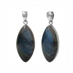 Marquise Labradorite Pendant, Sterling Silver