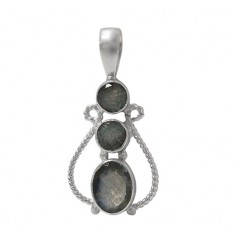 Multi Stone Labradorite Pendant, Sterling Silver