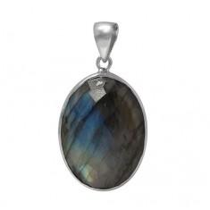 Oval Labradorite Pendant, Sterling Silver