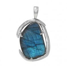Free Form Labradorite Pendant, Sterling Silver