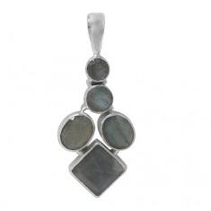 Multi Shape Labradorite Pendant, Sterling Silver