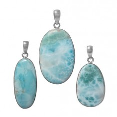 Oval Larimar Pendant, Sterling Silver