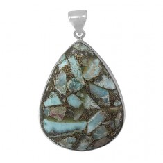 Teardrop Copper & Larimar Pendant, Sterling Silver
